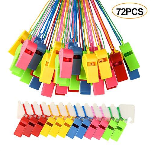 FEPITO 72 PCS fischietti Colorati plastica Fischietto da Allenatore con cordini per Eventi Sportivi addestramento per Cani