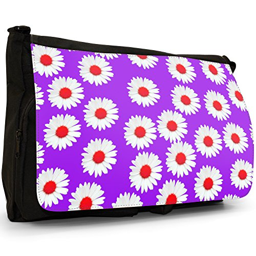 Dainty Daisies–Borsa Tracolla Tela Nera Grande Scuola/Borsa Per Laptop Purple Dainty Daisies