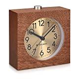 Navaris Wooden Bedside Analog Alarm Clock - Retro Square Table Clock with Snooze - Silent Gold Dial Dark Natural Wood