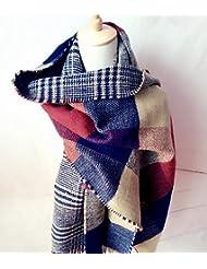 Mujeres moda gran tamaño manta bufanda abrigo chal cabo acogedor imitación Cachemira 200X60cm , yellow