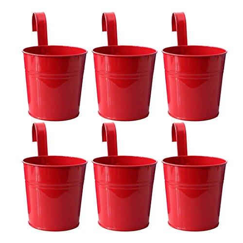 ZUJI 6er Set Hängetopf Blumentopf Wand Hängepflanztopf Metall Blumenampel Eiserner Eimer für Balkon und Gartendekor (Rot)