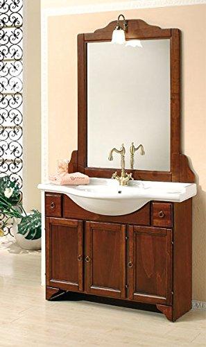 Mobile arredo bagno cm105 arte povera con lavabo in ceramica e specchio mobili