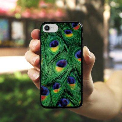 Apple iPhone X Silikon Hülle Case Schutzhülle Pfau Federn dschungel Hard Case schwarz