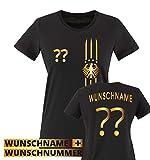 Trikot - MOTIV1 - DE - WUNSCHDRUCK - Damen T-Shirt - Schwarz/Gold Gr. M