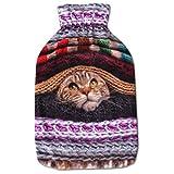 Wärmflaschenbezug 2L, mit und ohne Wärmflasche 2 Liter, Auswahl: Katze braun, ohne Wärmflasche