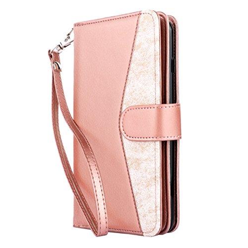 IPhone 7 Plus Case, TENKER Luxus Premium Qualität PU Leder iPhone 7 Plus Wallet Case Multifunktions Handtasche mit [Kreditkarte Slot] Magnetische Verschluss Flip für Apple iPhone 7 Plus-Rose Gold + Marmor (Gold Französisch Handtasche)