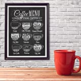 Poster,Coffee Menu Prints Vintage Style Chalkboard Poster,Cafe Wall Art Decor Canvas Painting,Retro Wall Picture Coffee Shop Decoration A 20X27Inch(50X70Cm)