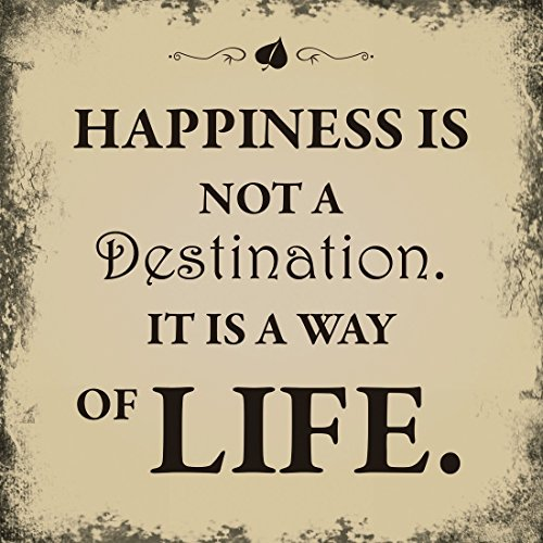 Xavax Schild Hapiness is not a destination (it is a way of life, 25 x 25 cm, Vintage Blechschild mit...