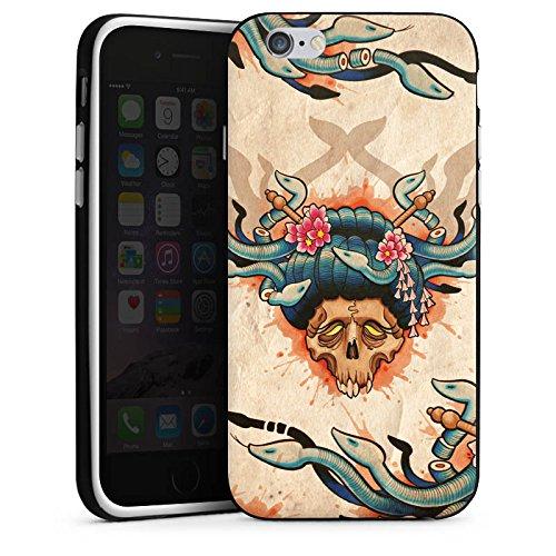 Apple iPhone X Silikon Hülle Case Schutzhülle Tattoo Totenkopf Schädel Silikon Case schwarz / weiß