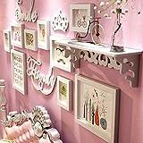 Nwn Fotowand Holz Bilderrahmen Creative Foto Wand/Rahmen Wand/Rahmen Kombination Kinderzimmer Foto Wand, Weiß 57,1 * 26,8 Zoll (Farbe : All White)