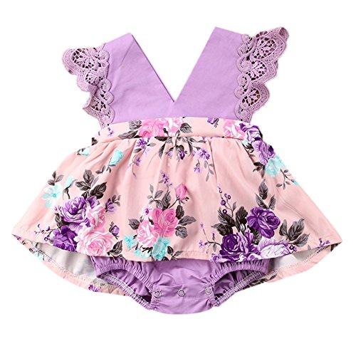 �m Druck Halloween Prinzessin Fancy Kleid mit Lila Blume Muster Party Hochzeit Outfits Geschenk, Younger Sister Style, 80 cm (18 24 Monat Halloween Kostüme Uk)