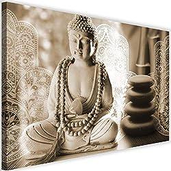Feeby Cuadro en Lienzo Buda 120x80 cm XXL Impresion Calidad fotografica Zen SPA Sepia