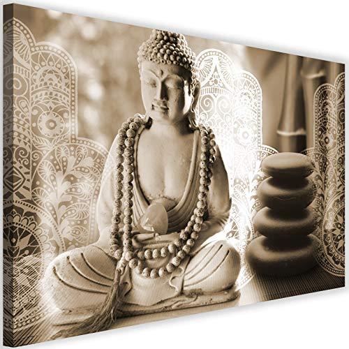 Feeby Bilder Buddha 120x80 cm Leinwandbild 1 Teilig XXL Kunstdruck modern Zen spa Sepia