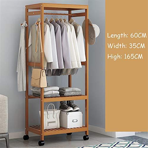 QHGao Multifunktionale Holz Einfache Kleiderbügel, Moderne Bambus Boden Kleiderbügel Garderobe, Kreative Mobile Kleiderbügel Schlafzimmer Wandhalterung, Geeignet Für Jede Familie,Dark,60 * 35 * 165cm
