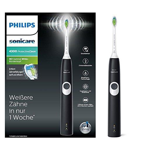 Philips Sonicare ProtectiveClean 4300 elektrische Zahnbürste HX6800/28 - Schallzahnbürste mit Clean-Putzprogramm, 2 Intensitäten, Andruckkontrolle & Timer - Schwarz