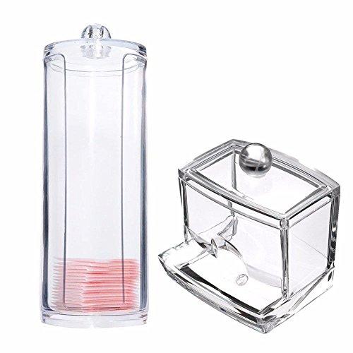 Espeedy Transparente runde Behälter-Speicher-Fall-Verfassungs-Wattepad Box + Acryl Cotton Swab-Speicher-Halter-Kasten -