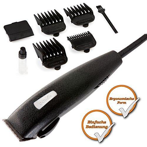 Haarschneidemaschine mit 4 Aufsätzen, schwarzer Bartrasierer mit ergonomischer Form, leichtes stylen
