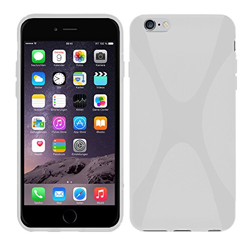 Apple iPhone 6 (4,7 Zoll) - TPU Schutzhülle X-Style X Design Case Schutz Cover Etui Hülle in Lila - RT-Trading Weiß