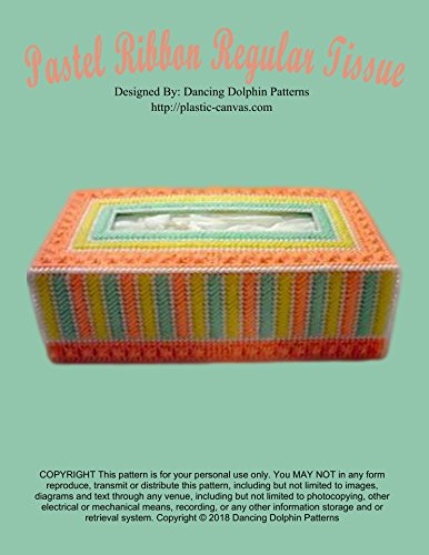Pastel Ribbon Regular Tissue Box Cover: Plastic Canvas Pattern (English Edition)