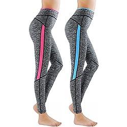 Paquete de 2 L&K-II leggins para damas pantalones deportivos largos para Training Running Yoga Fitness transpirables con cintura alta 4113 Rosa+Azul L/XL