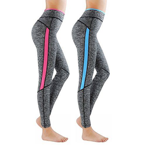 Lot de 2 GoVIA Legging pour femme Pantalon de course à pied Pantalon de sport respirant Pantalon de Yoga Fitness Taille haute Long Rayures 4113 Bleu+Rose L/XL