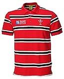 Oficial Copa del Mundo de Wru Rugby RWC 2015Gales Rugby Polo a rayas para hombre, rojo, mediano