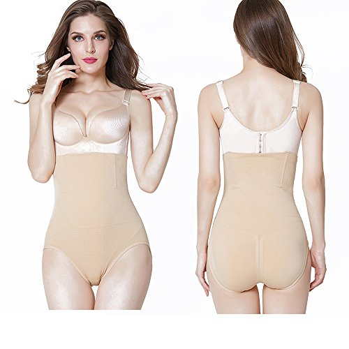 Damen hohe Taille Shapewear Magic Body Shaper Kontrolle Knickers Höschen Beige