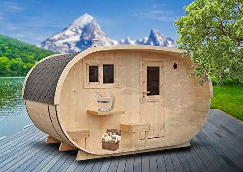 FinnTherm Saunahaus Oval inkl. Holz-Ofen (18 kW)   Premium-Thermoholz - Gartensauna Außensauna