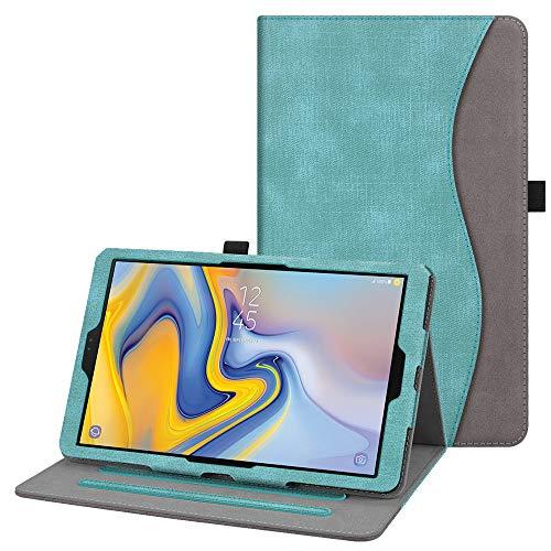 Fintie Hülle für Samsung Galaxy Tab A 10.5 2018 - Multi-Winkel Betrachtung Kunstleder Schutzhülle mit Auto Schlaf/Wach Funktion für Galaxy Tab A (10.5 Zoll) SM-T590/T595 Tablet, Jeansoptik Türkis