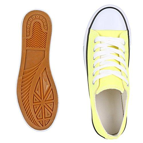 Trendige Unisex Sneakers | Low-Cut Modell | Basic Freizeit Schuhe | Viele Farben | Gr. 36-45 Hellgelb