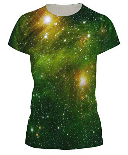 Pretty321 Women Girl Nature & Universe Galaxy Stars 3D Slim Fit T-shirt Collection Green Universe Galaxy Stars