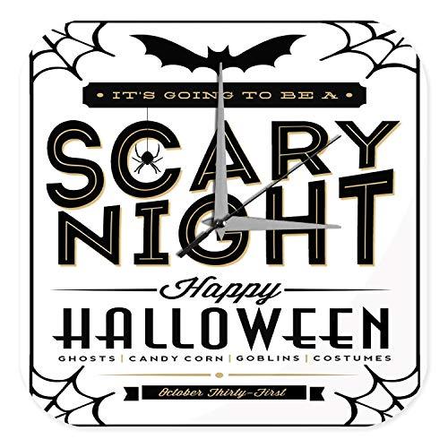nduhr mit geräuschlosem Uhrwerk Dekouhr Küchenuhr Baduhr Fun Küchen Deko Halloween gruselige Nacht Dekouhr Vintage Retro ()