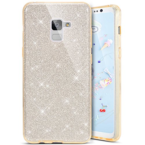Coque Galaxy A8 2018, Coque Galaxy A8 2018 Silicone Paillette, SainCat Ultra Slim Bling Bling Silicone Case pour Samsung Galaxy A8 2018, 3 in 1 Brillante Gel Silicone Glitter Soft Gel TPU Cover Anti-Scratch Silicone Case, Coque Souple Ultra Mince Housse Silicone Ultra Thin Shockproof Shell Ultra Slim Bumper Femme Case Skin Étui Case Coque Anti Choc Housse Bumper Cover pour Samsung Galaxy A8 2018-Or