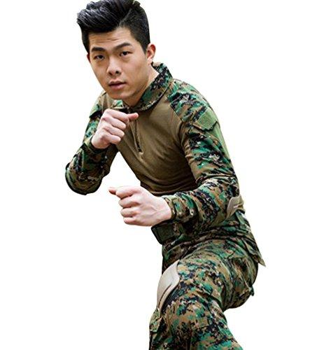 YuanDian Herren Frösche Schlank Passen Tarnung Airsoft Taktisch Militär T-Shirt Militärhose Sets Langarm Camo Armee Top + BW Feldhose Outdoor Camping Uniform Dschungel Digital Shirt M (Digital Woodland Tarnung)