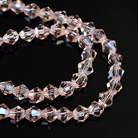 FACETED BICONE CRYSTAL GLASS BEADS PICK SIZE & COLOUR - BY STAR BEADS (4x3mm (115pcs), Light Peach)