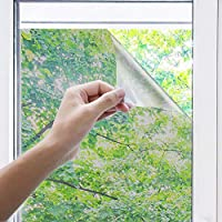 Uiter One Way Window Film - Anti UV Static Cling Window Film 100% Light Blocking For Privacy Removal Decorate Heat Control Glass Tint Home Office Windows (90 * 200cm,Silver)