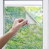 Uiter Película para Ventanas Película Adherente Anti UV para Ventanas Bloquea 100% la Luz para Privacidad, Vidrio Tintado para Ventanas de Oficina en el Hogar(60 * 200cm,Plateado)