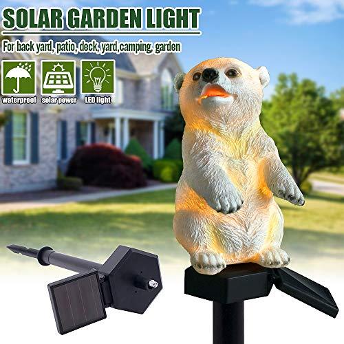 Globents Solar LED Warm White Light Stand Bear Garden Landscape Yard Outdoor Decor Lamp - Bear Garden
