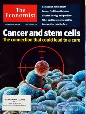 ECONOMIST (THE) du 13/09/2008 - CANCER AND STEM CELLS - THE CONNECTION THAT COULD LEAD TO A CURE - SARAH PALIN - FEMINIST ICON - FANNIE - FREDDIE AND LEHMAN - PAKISTAN'S DODGY NEW PRESIDENT - WHAT NEXT FOR CORPORATE PROFITS - DAMIEN HIRST BETS THE FARM