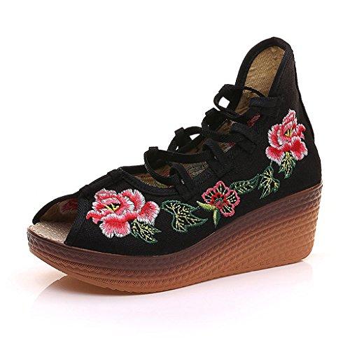 Die gestickten Schuhe der Frauen fallen nationale Art mittlere Fersen breathable Freizeitschuhsandelholze ( Farbe : Schwarz , größe : US:8\UK:7\EUR:41 )