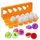 BYBOT 12 Piezas Rompecabezas de Huevos Color y Forma Juguetes Educativos, Montessori Rompecabezas de Juguete Desarrollar Las Habilidades Motoras y Percepción de Niños