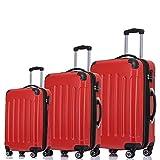 BEIBYE Zwillingsrollen 3 tlg. Reisekofferset Koffer Kofferset Trolley Trolleys Hartschale in 14 Farben (Chilirot)