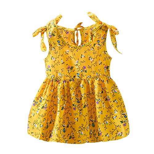 LUGOW Bänder Beugen Kleider Ärmellos Cocktailkleider Kleinkind Scherzt Prinzessin Bling Kostüme Party BlusenkleidKleider Maxikleid Abendkleider Tutu Kleider Dresses(Medium,Gelb)