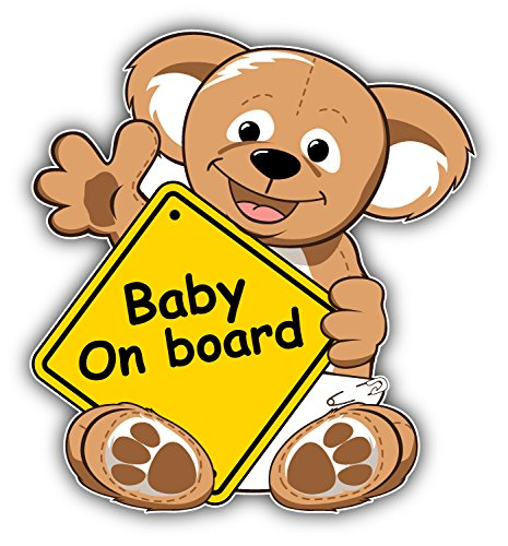 Baby On Board Sign Teddy Bear Auto-Dekor-Vinylaufkleber 12 X 12 cm