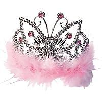 Lucy Locket - Tiara mariposa rosa con plumas de marabú, para niñas (3-8 años)