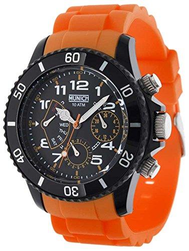 MUNICH MU119.5A–Orologio unisex movimento al quarzo con cinturino in gomma arancione