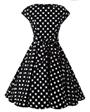 MISSMAO Woman 50s Rockabilly Cap Sleeves Swing Dress Retro Style Polka Dots Printed Dress with Bow decoration