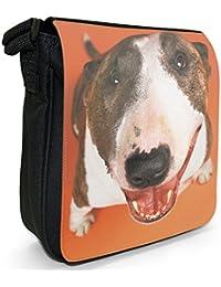 Bull Terrier Dog Looking Up Small Black Canvas Shoulder Bag / Handbag