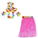 Smallwise Trading Hawaiian Grass Skirt Flor Hula Lei Guirnalda Disfraz 5pcs Set (Rosa) Rosa Rosa Talla única