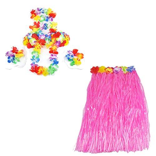 Gleader-6-Set-hawaiano-Grass-Skirt-flor-Hula-Lei-Munequera-Garland-Disfraz-Rosa